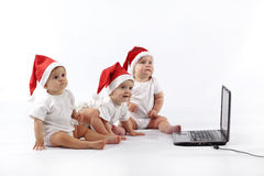 Christmas babies with laptop Stock Photography