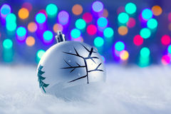 Christmas babule in silver with tree and lights Royalty Free Stock Photography
