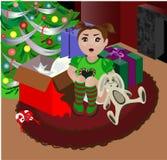 Christmas Baby. A baby girl on Christmas morning Stock Photos