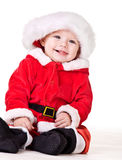 Christmas baby. Laughing Christmas baby, over white Royalty Free Stock Images