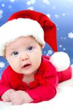Christmas baby. Fairy-tale portrait of Christmas baby on winter background Stock Photos