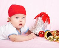 Christmas baby boy Royalty Free Stock Photography