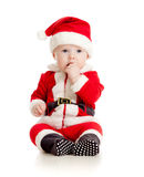 Christmas baby boy in Santa Claus clothes Royalty Free Stock Photography
