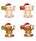 Christmas Baby Clip Art. An illustration featuring your choice of happy smiling baby - african american and caucasian - boys and girls - wearing Santa hats and Royalty Free Stock Image