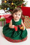 Christmas baby with cookies Stock Images
