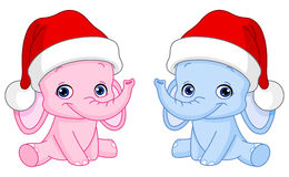 Christmas baby elephants Royalty Free Stock Photography