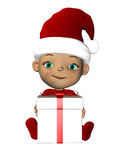 Christmas baby with gift sitting Stock Photo
