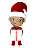 Christmas baby with gift standing Stock Images