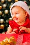 Christmas baby girl Stock Images