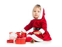 Christmas baby girl with gift box Stock Images