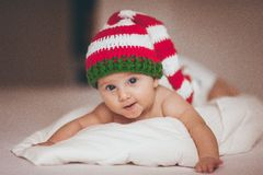 Christmas baby girl newborn in hat Stock Photo