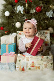 Christmas and baby girl Royalty Free Stock Image
