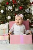 Christmas and baby girl Royalty Free Stock Photo