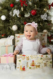 Christmas and baby girl Stock Photo