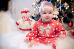 Christmas baby girl Stock Images