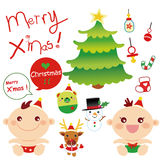Christmas Baby Grpahic. Lovely, cute baby boy and girl with other christmas elements Royalty Free Stock Photography