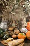Christmas, Baby Jesus figurine in rustic kitchen Royalty Free Stock Photography