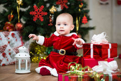 Christmas baby with lamp Royalty Free Stock Images