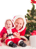 Christmas baby and mom Stock Images