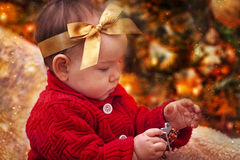 Christmas baby portrait Stock Photos