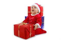 Christmas baby with present Stock Image