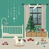 Christmas baby room interior. Royalty Free Stock Photo