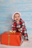 Christmas baby in santa hat Stock Photo