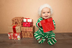 Christmas baby in santa hat Royalty Free Stock Images