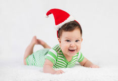 Christmas baby in santa hat on white Royalty Free Stock Images