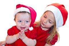 Christmas baby sister Stock Photos