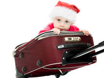 Christmas baby in the suitcase Royalty Free Stock Images