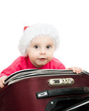 Christmas baby in the suitcase Stock Photo