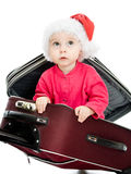 Christmas baby in the suitcase Stock Image