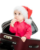 Christmas baby in the suitcase Royalty Free Stock Photo