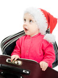 Christmas baby in the suitcase Royalty Free Stock Image