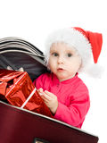 Christmas baby in the suitcase Stock Photos