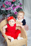 Christmas baby twins Royalty Free Stock Photos