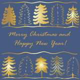 Christmas backdrop background card with green fir trees  illustration. Christmas backdrop background card with green fir trees of various shapes  illustration Royalty Free Stock Photography