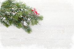 Christmas backdrop with fir tree covered by snow. In front of wooden wall. Xmas greeting card template Royalty Free Stock Image