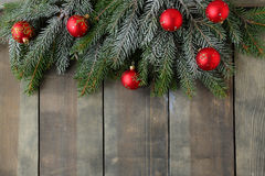 Christmas backdrop with green branch Stock Photos