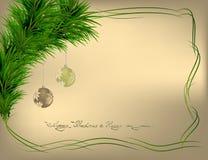 Christmas backdround with frame. Christmas gold backdround with green frame and balls Royalty Free Illustration
