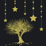 Christmas background. Silhouette of a tree and stars - additional ai and eps format available on request Stock Photography