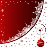 Christmas background. Christmas balls with snowflakes, stars and waves on red background Vector Illustration