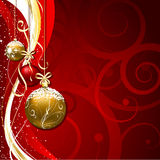 Christmas background. Decorative Christmas background with hanging baubles Royalty Free Stock Photos