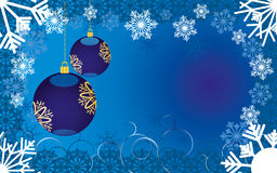Christmas background 11. Blue christmas background decorated with snowflakes, curls and baubles with place for congratulations,  illustration additional Royalty Free Stock Photo