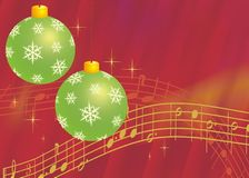 Christmas background. Red Christmas background with ornamental balls and notes of the traditional carol Silent Night vector illustration