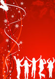 Christmas Background. With wave pattern &  silhouettes dancing man and women Stock Photography
