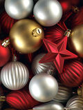 Christmas background. Made up of silver, red and golden balls Stock Photo