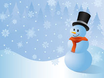 Christmas background. With a snowman. Vector Royalty Free Stock Image