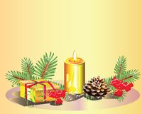 Christmas background. With candle and candies Royalty Free Stock Images